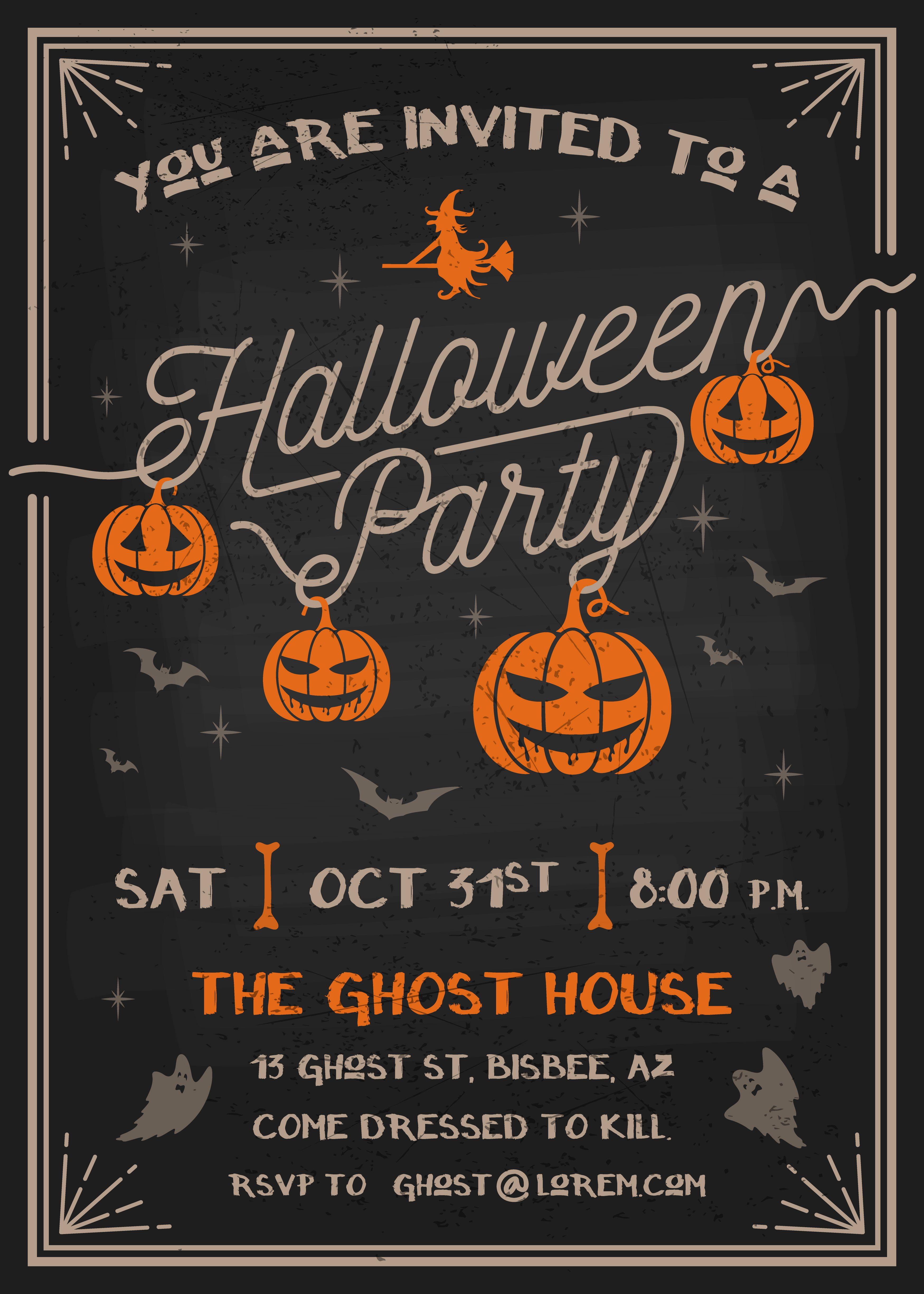Free Vector Art In 2019 Halloween Invitations Movie Party