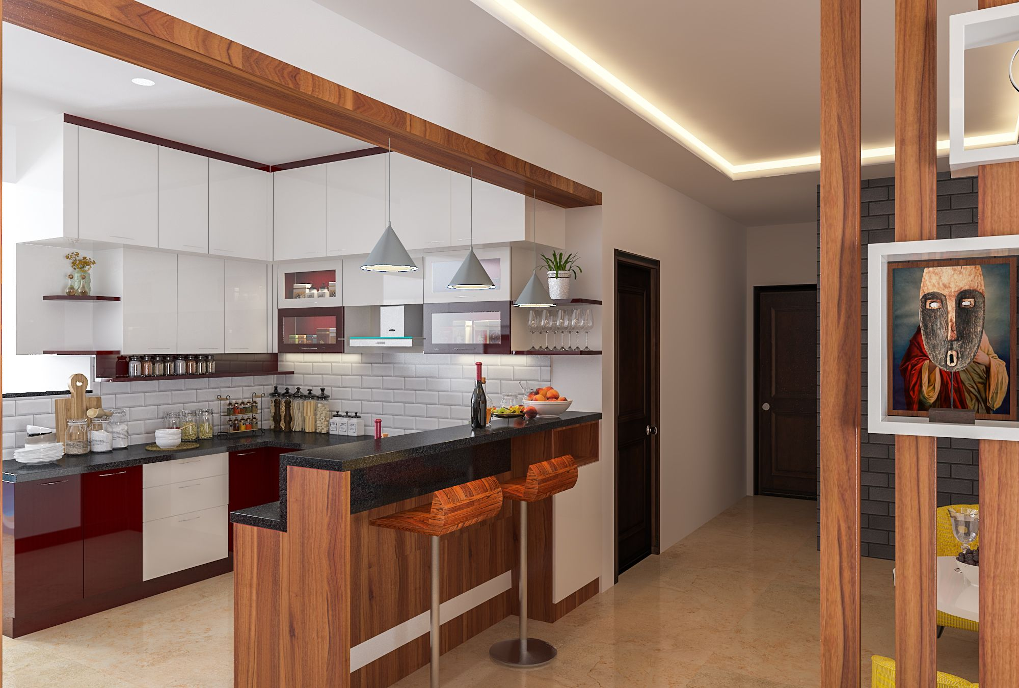 Kitchen with breakfast counter | Dining table in kitchen, Kitchen