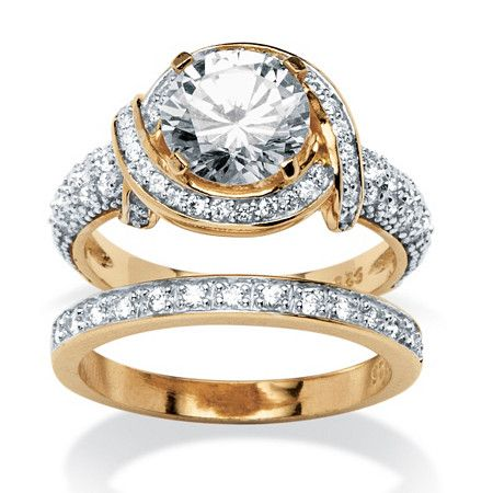3.26 TCW Round Cubic Zirconia 2 Piece Ring Set in 18k Gold over Silver