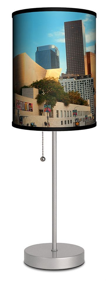 """Downtown Los Angeles Street View of Concert Hall 20"""" H Table Lamp"""