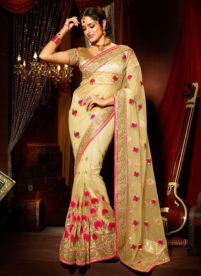 Net saree images quality beige net saree  sarees  pinterest  net saree saree and
