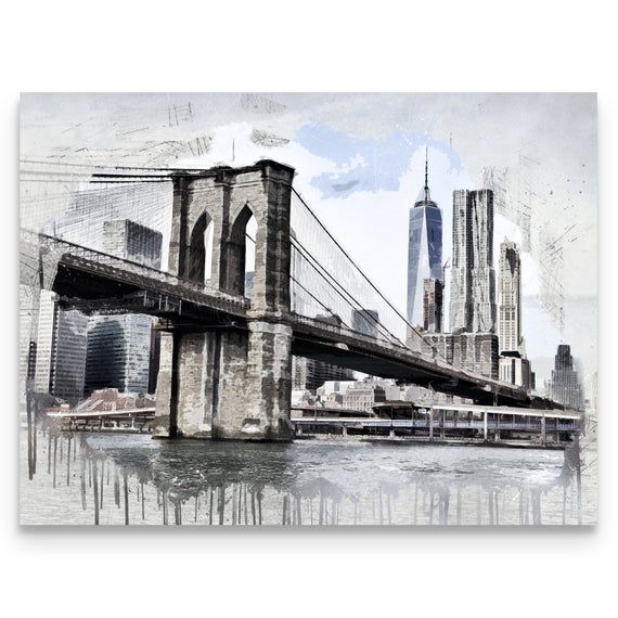 Canvas Wall Art High Quality Canvas Print Sizes 11x14 16x20 18x24 24x36 Hanging Hardware Included Lookin New York Art Bridge Painting Brooklyn Bridge