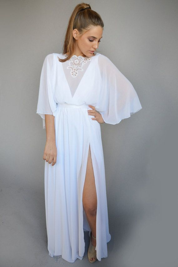 Chiffon wedding dress, kimono sleeves, embroidery at cleavage open ...