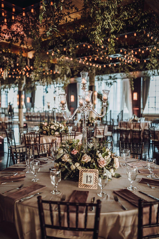 Blush Floral Centerpiece mit Candle Stick und Lighted Floral Ceiling Treatment Decor   – Reception Decor