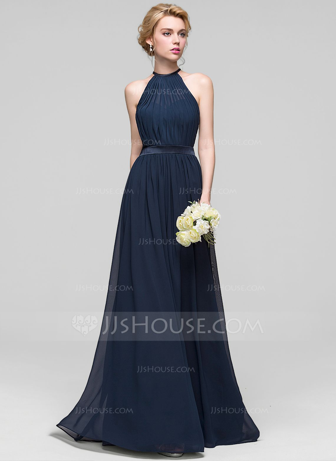 A-Line/Princess Scoop Neck Floor-Length Ruffle Zipper Up Spaghetti Straps Sleeveless No Dark Navy Spring Summer Fall General Plus Chiffon Bridesmaid Dress