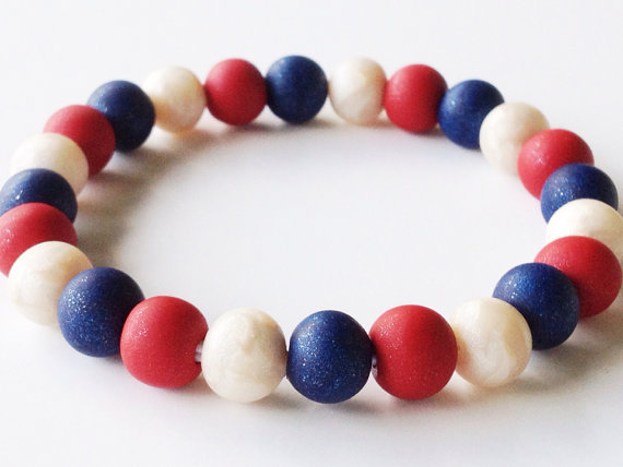 Patriotic Polymer Clay Bead Bracelet Red White And Blue Beads Usa Pearl Stretch On Etsy 20 00