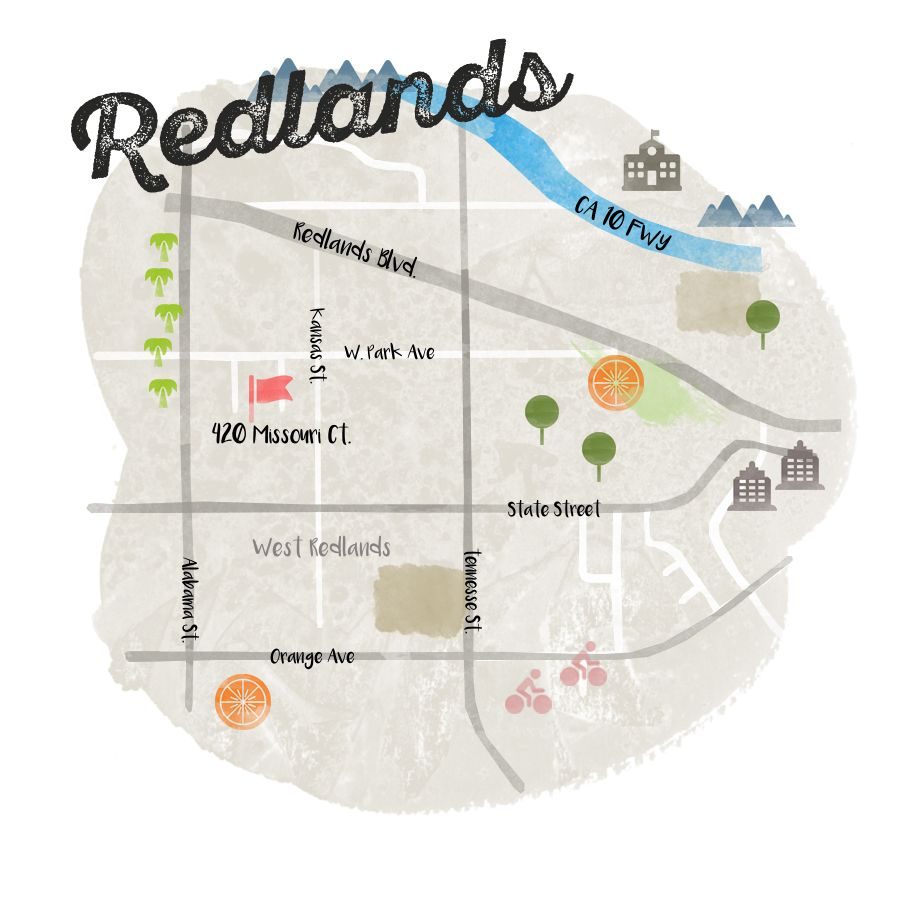 Redlands California Map A simple map for a simple town. Redlands California. | Cute homes  Redlands California Map