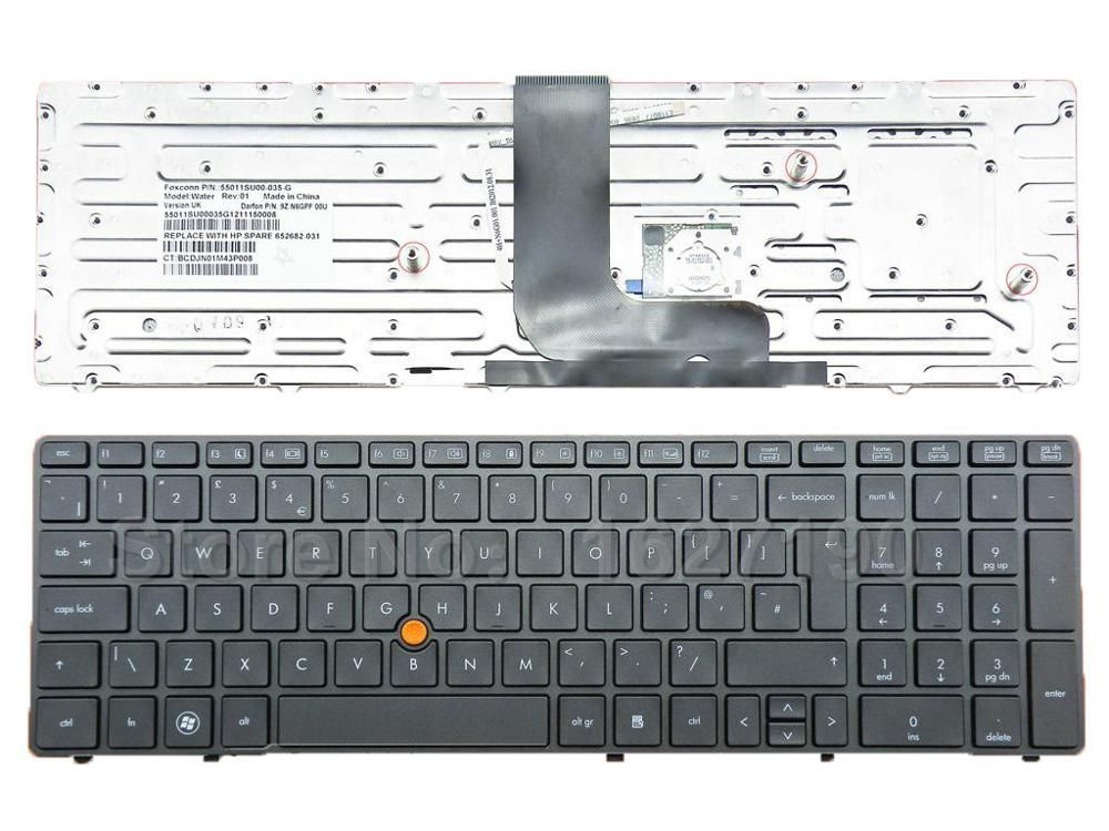 New UK Keyboard Laptop for HP 8560W GRAY FRAME GRAY With Point stick