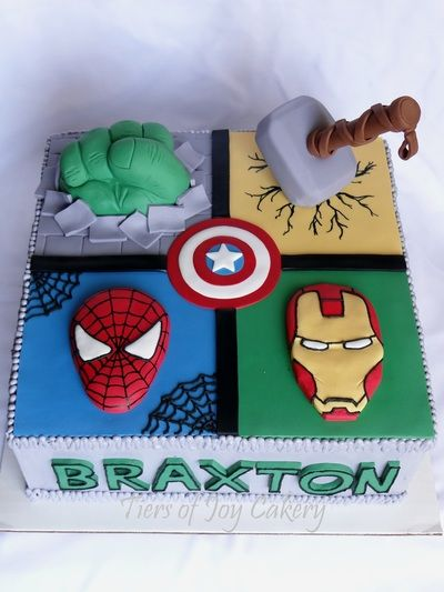 Cake with Spiderman and Avengers Hulk Thor Iron Man and Captain