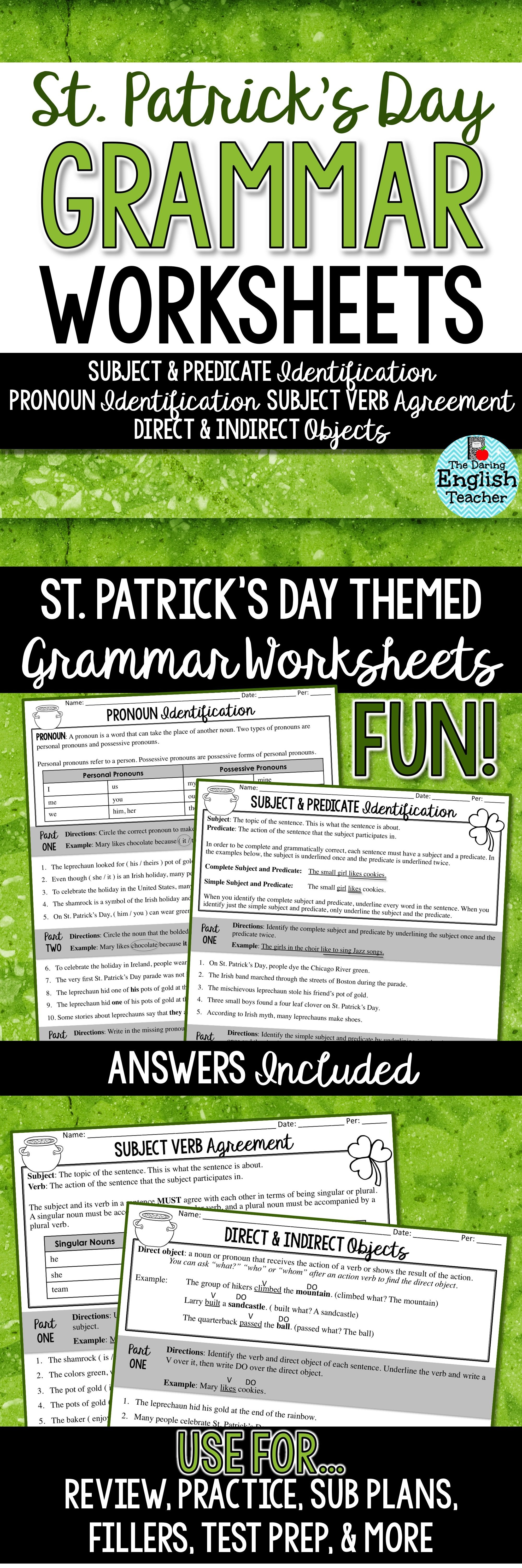 St Patrick S Day Grammar Worksheets