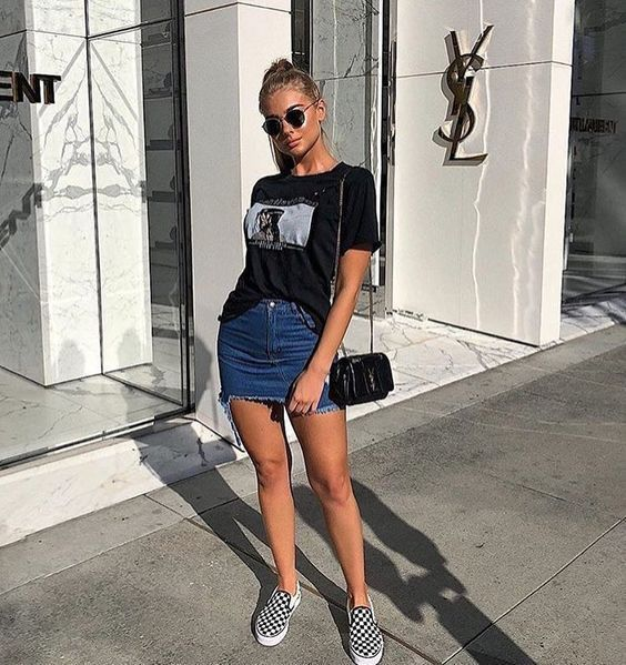 t shirt and denim skirt outfit buy clothes shoes online