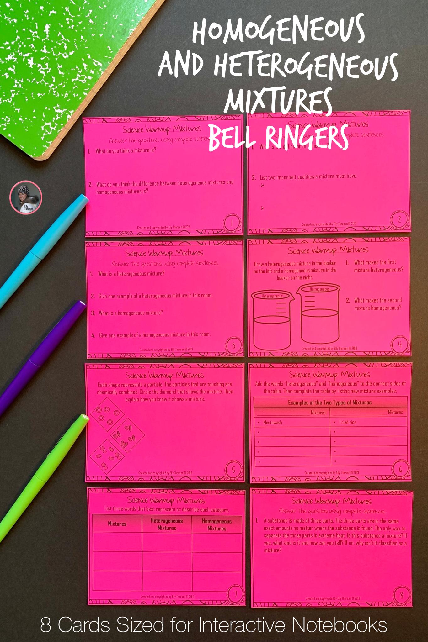 Heterogeneous And Homogeneous Mixtures Bell Ringers Or