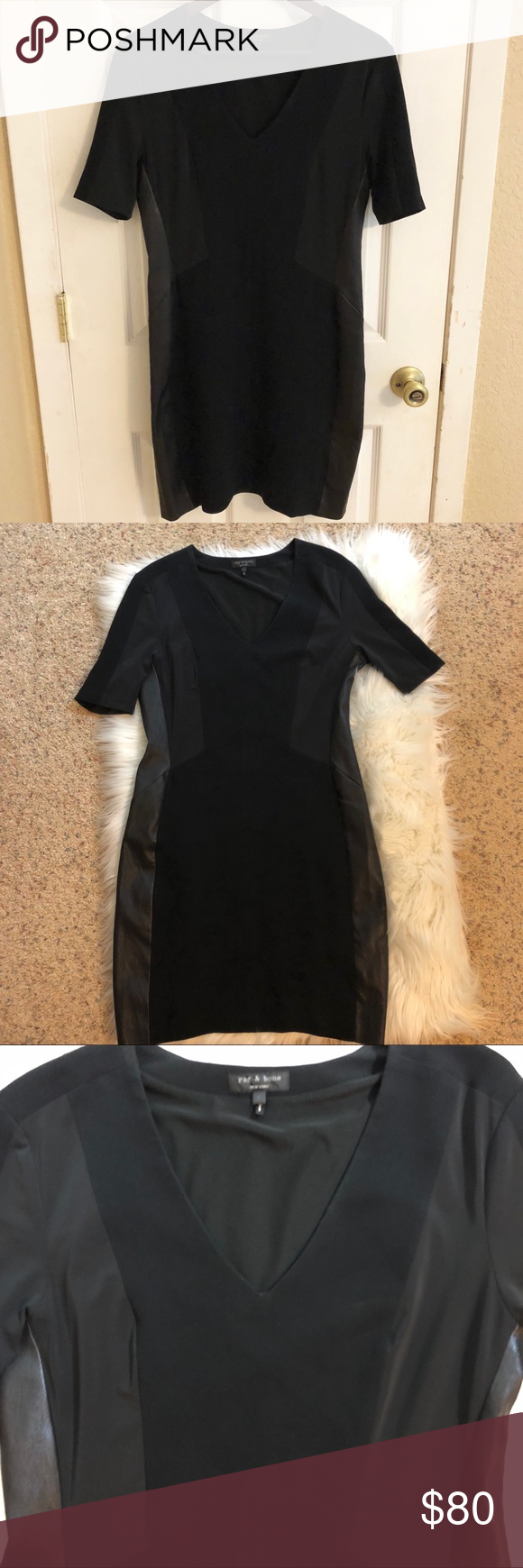 Rag bone sheath dress with lambskin sides short sleeve with side