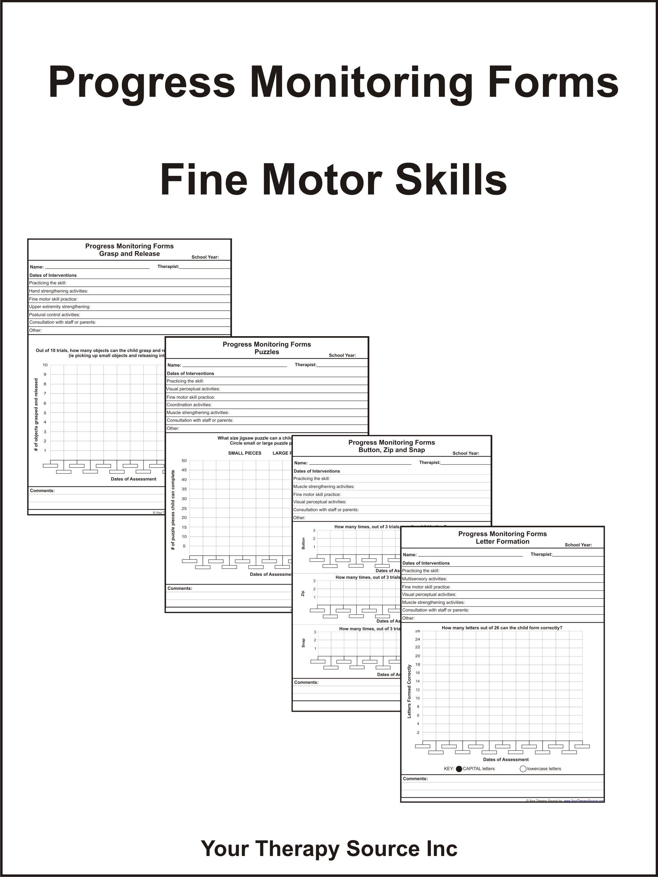 Progress Monitoring Forms Fine Motor Skills Your Therapy Source Progress Monitoring Fine Motor Skills Progress Monitoring Forms