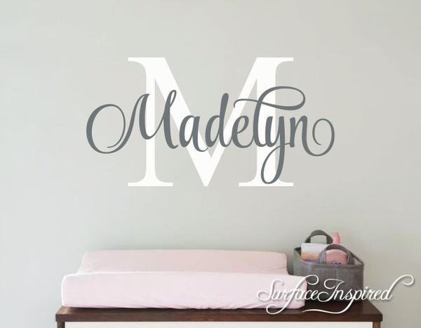 Nursery Wall Decal Personalized Names Wall Decals For Kids Madelyn - Monogram wall decal for kids