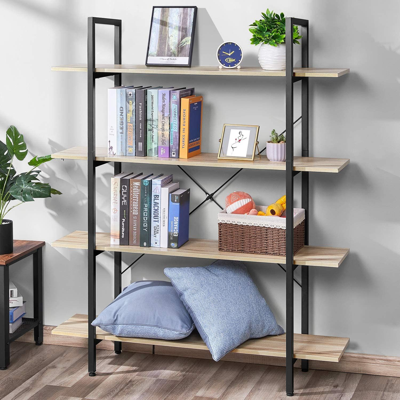 Bookshelf Vintage Industrial 4 Tier Bookcase Solid Wood And Metal Frame Sturdy Bookshelves In 2020 Oak Furniture Living Room Bookcase Shelves