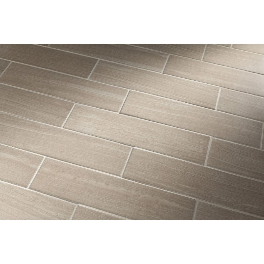 Shop style selections leonia sand glazed porcelain indoor outdoor floor tile common 6 in x 24 - Lowes floor tiles porcelain ...