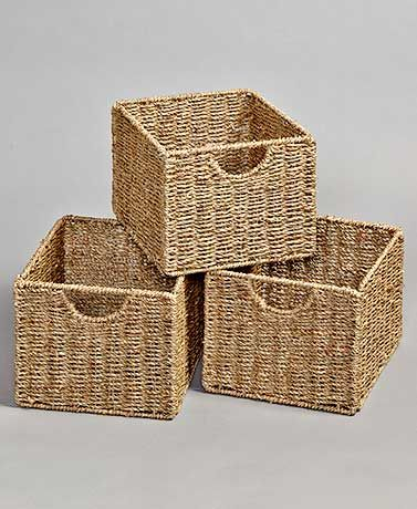 Beadboard Wooden Storage Cabinets or Baskets