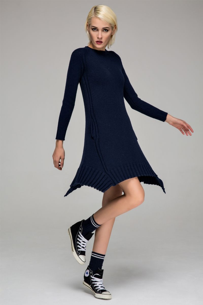 Knitted sweater dress with asymmetric hem