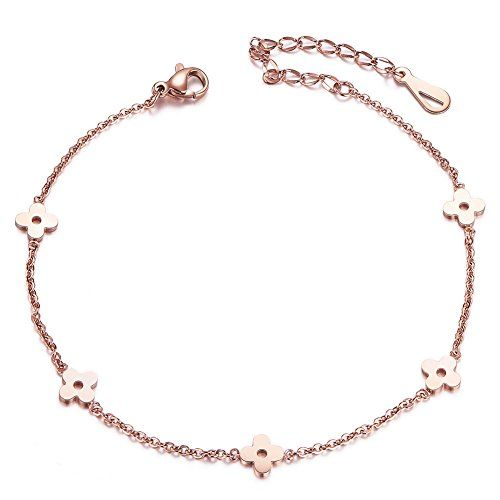 Sweetiee Titanium Steel Double Layered Anklet with Mini Stars Rose Gold 200mm for Woman 8Q1cHgwj
