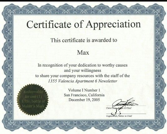 certificate of recognition wordings