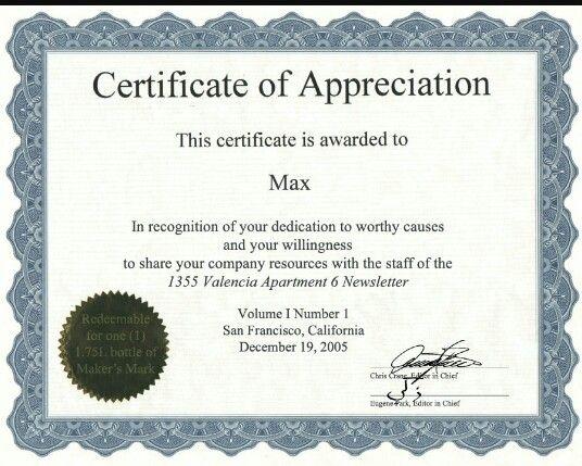 Certificate of appreciation certificate template pinterest certificate of appreciation volunteer ideascertificate templatescertificate yelopaper Gallery