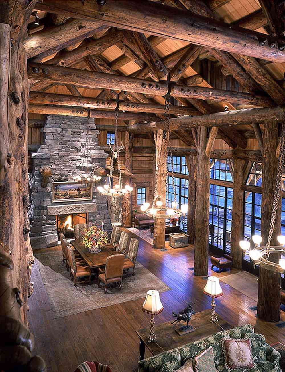 Massive Greatroom with a high soaring ceiling in this Montana home..Rustic American