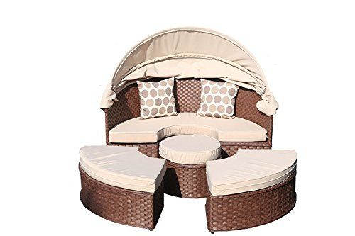 yakoe papaver rattan day bed garden furniture outdoor lounger patio sofa plus table with sun roof