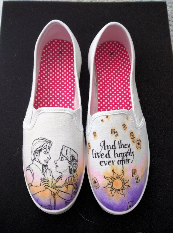 328eaa838ae Disneys Tangled Rapunzel and Flynn Ryder custom wedding happily ever after hand  painted shoes