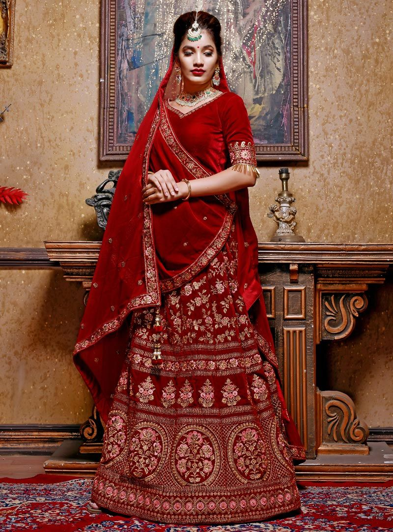 02518e88eee77 Buy Maroon Velvet Heavy Embroidered Lehenga Choli 153699 online at best  price from vast collection of Lehenga Choli and Chaniya Choli at ...