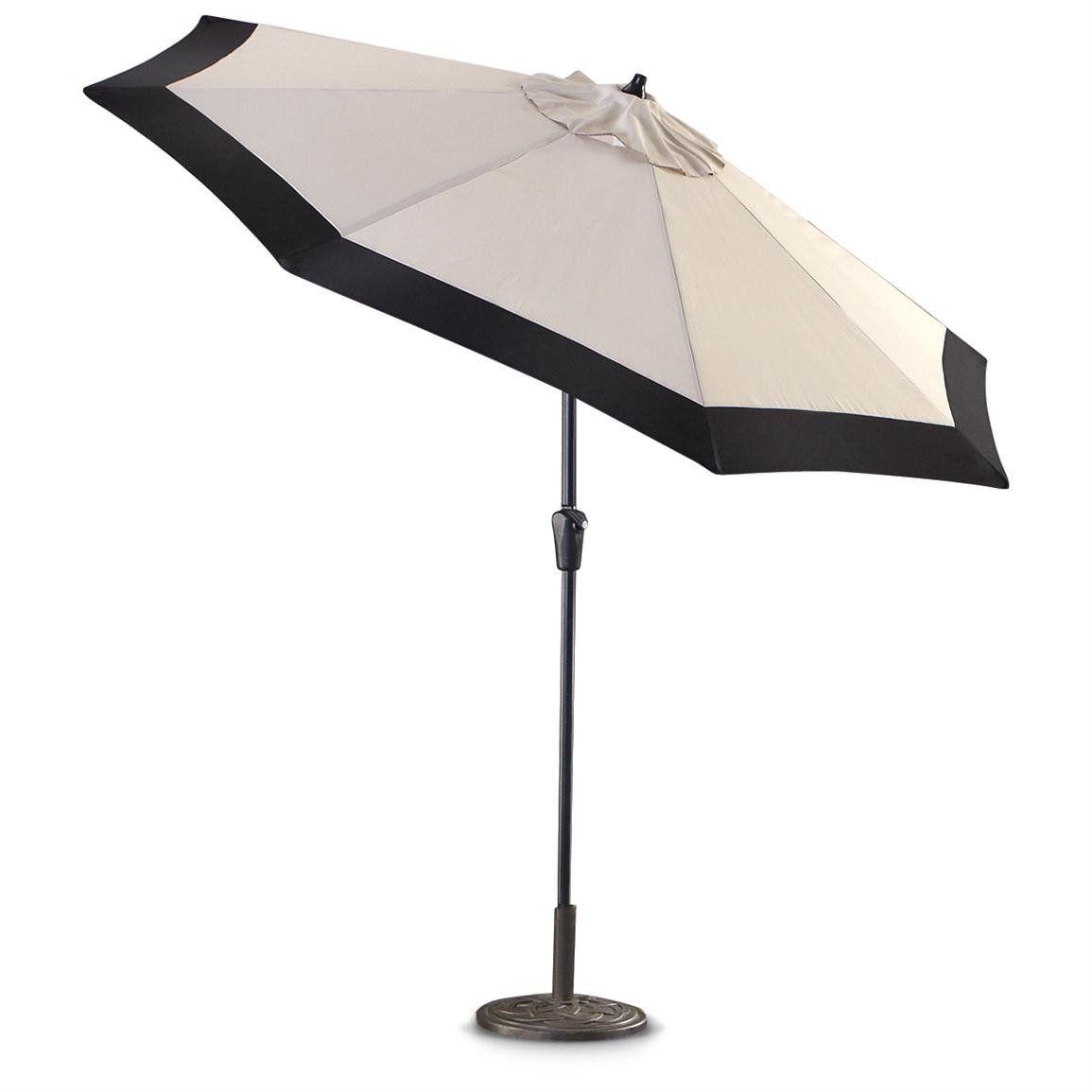 Incroyable White Patio Umbrellas #5: Castlecreek 9 Two Tone Deluxe Market Patio  Umbrella Khaki Black Rectangular Patio Umbrella
