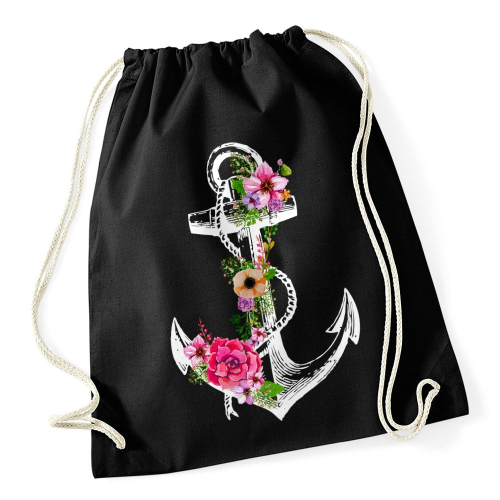 c3f997670f028 Turnbeutel Blumen Anker Ethno Boho Hipster Beutel Tasche Gym Bag Watercolour