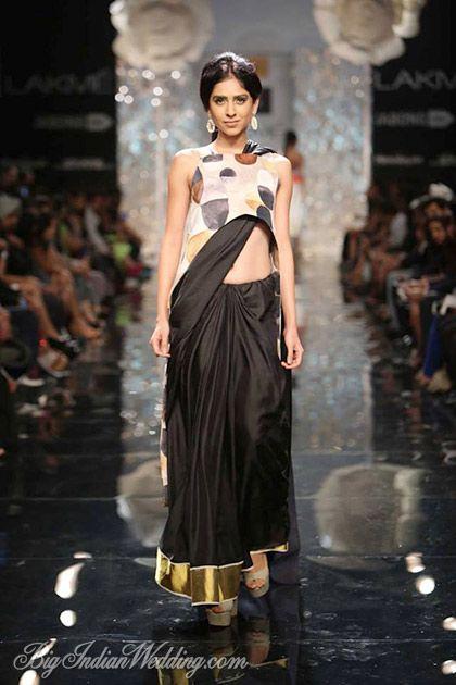 Masaba plain black saree with printed blouse