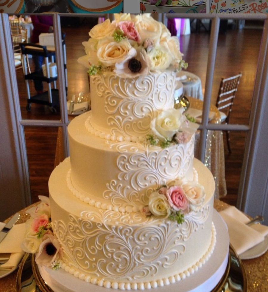 Lovely 3 tier buttercream wedding cake MarianneWhite flower cake     Lovely 3 tier buttercream wedding cake MarianneWhite flower cake shoppe