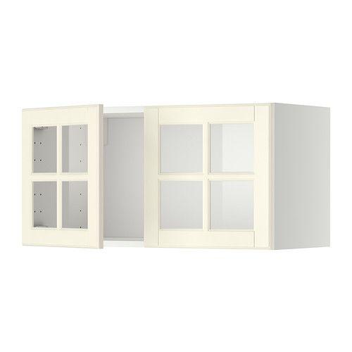METOD Seinäkaappi + 2 vitriiniovea - valkoinen, Bodbyn luonnonvalkoinen - IKEA