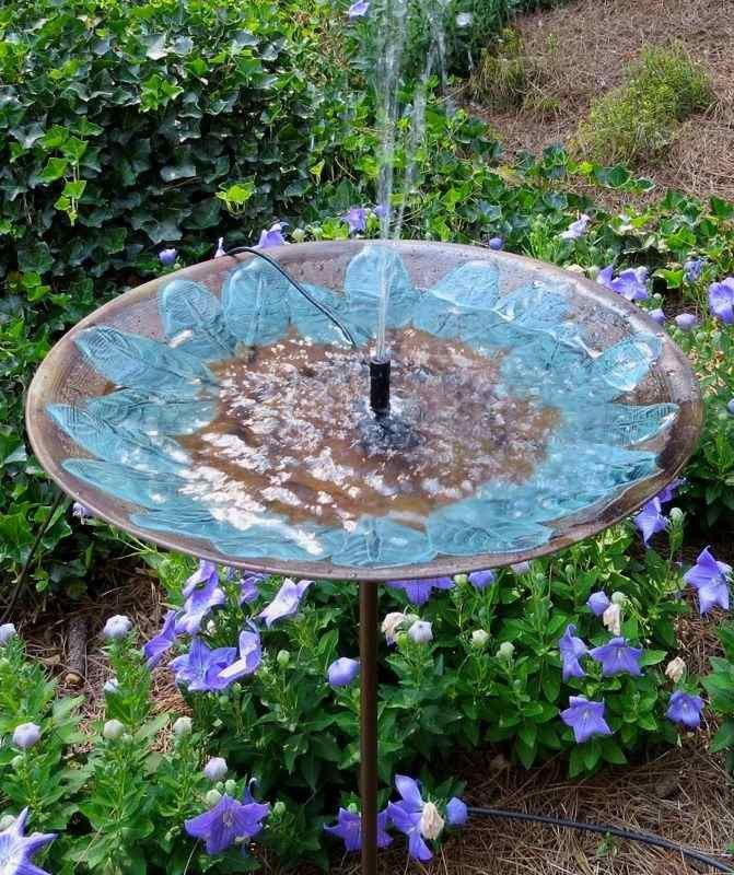 Brass Leaves Solar Bubbler Bird Bath Products Bird