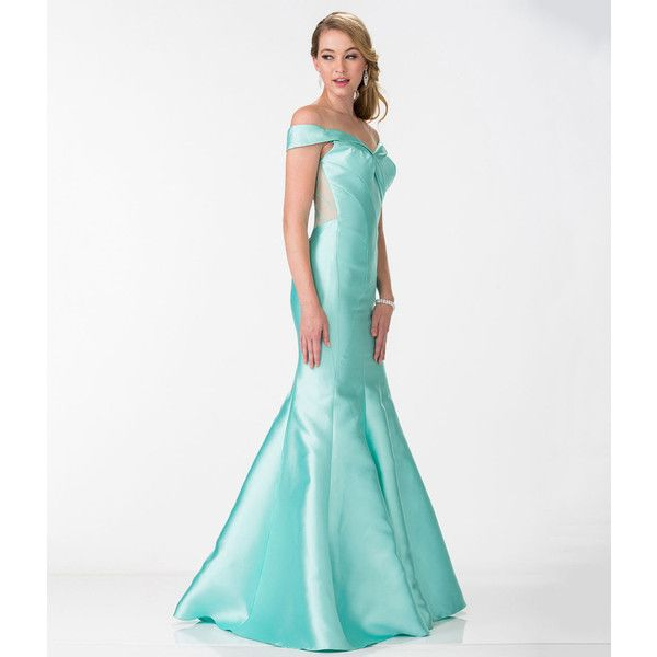 98b18c12fff7 Tiffany Blue Sexy Off The Shoulder Mermaid Gown ( 198) ❤ liked on Polyvore  featuring dresses