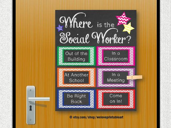 School social worker gift social work door decoration for Poster decoratif