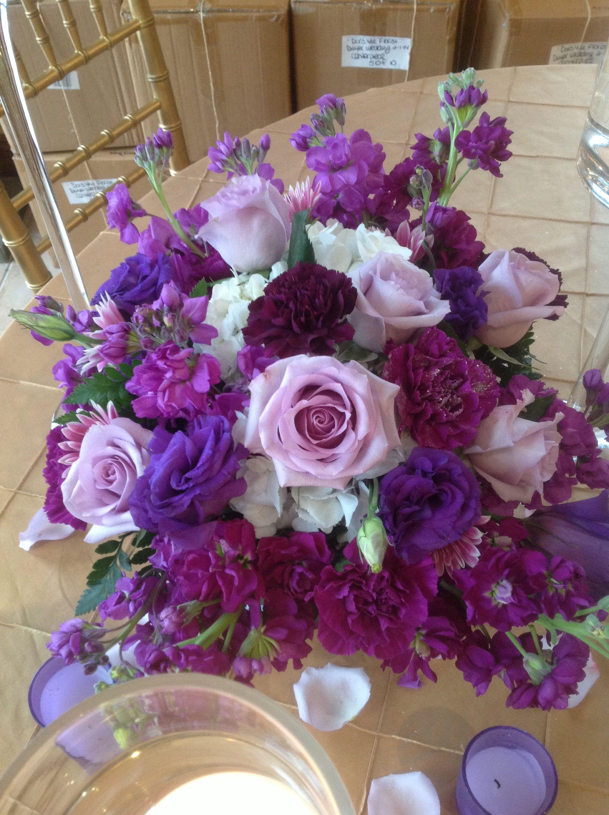 Wedding Centerpiece Of Lavender Roses Caspia Lavender Stock Lavender Daisy Purple Lisianth Pink Wedding Flowers Wedding Centerpieces Wedding Colors Purple