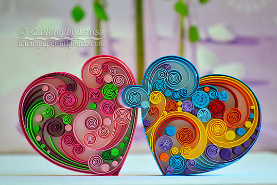 Original Paper Quilling Wall Art - Love Hearts Puzzle Wedding Anniversary Love day Heart Handmade Decor Design Gift The artwork is very colorful and will give gladness and a lot of positive emotions for you :)  This wall art is my own creation, I made it in a technique graphic quilling, using cardboard and pastel paper strips 8 mm wide.  It is entirely handmade, using only paper. I cut paper strips by hand. This beautiful design can grace any room, lovely gift for any occasion, anniversary, w...