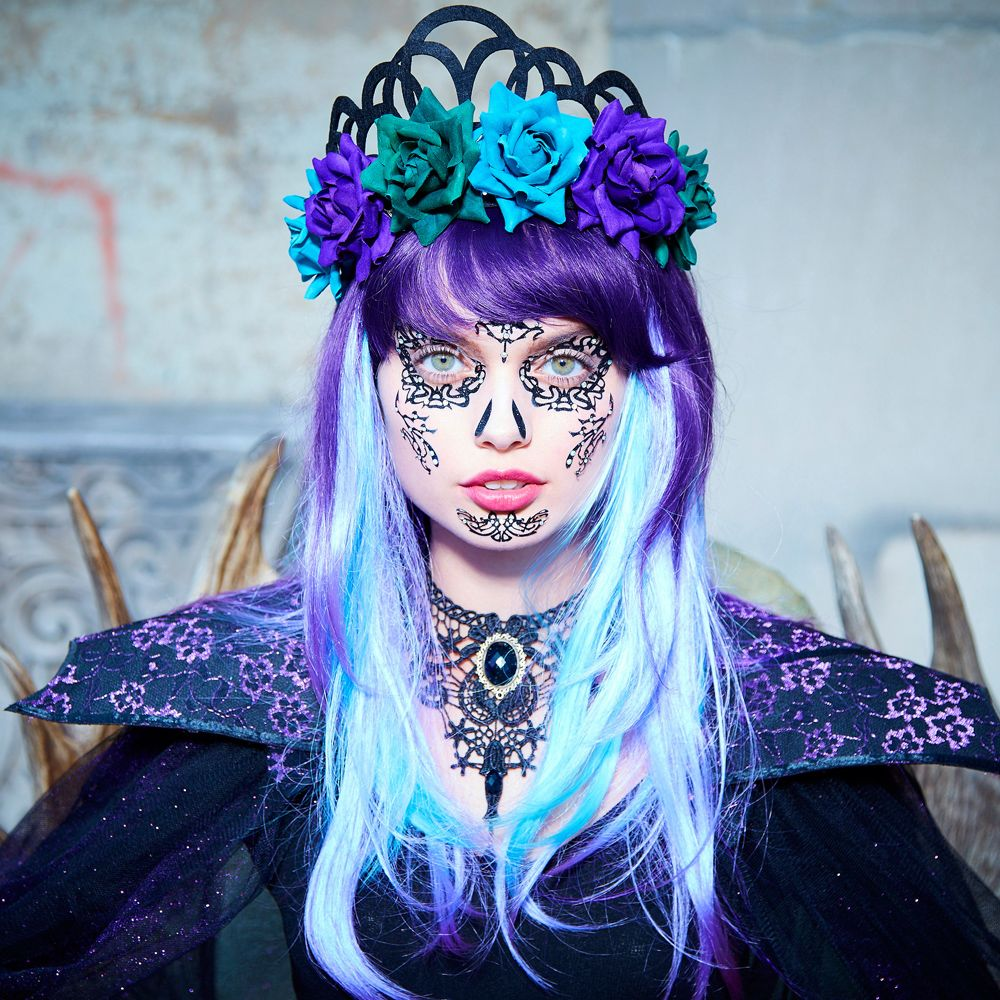 Black Lace Face Tattoo Faux hair, Fashion, Fashion