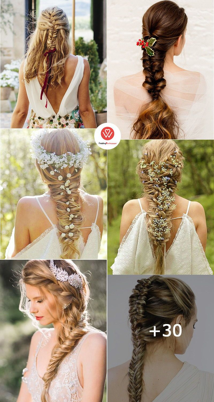 42 Gorgeous Wedding Hairstyles Ideas To Inspire Your Wedding Day Chic Fish Tail Wedding Hairstyles With Fishtail Braid Wedding Boho Wedding Hair Hair Styles