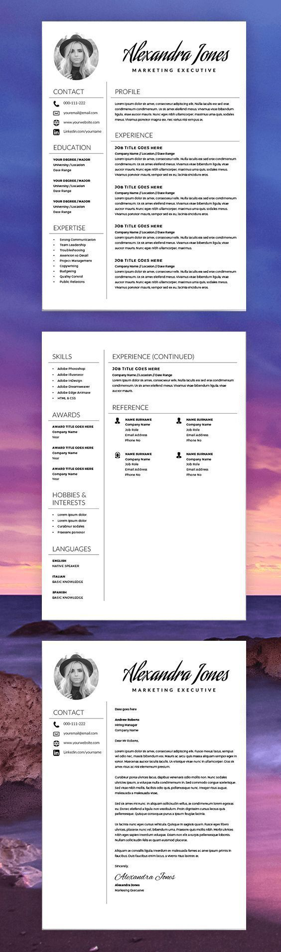 Elegant Resume Template  Creative Resume  Cv Template  Free