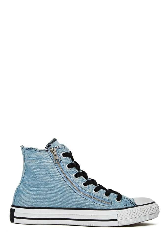 Converse All Star High Top Sneaker Denim Double Zip
