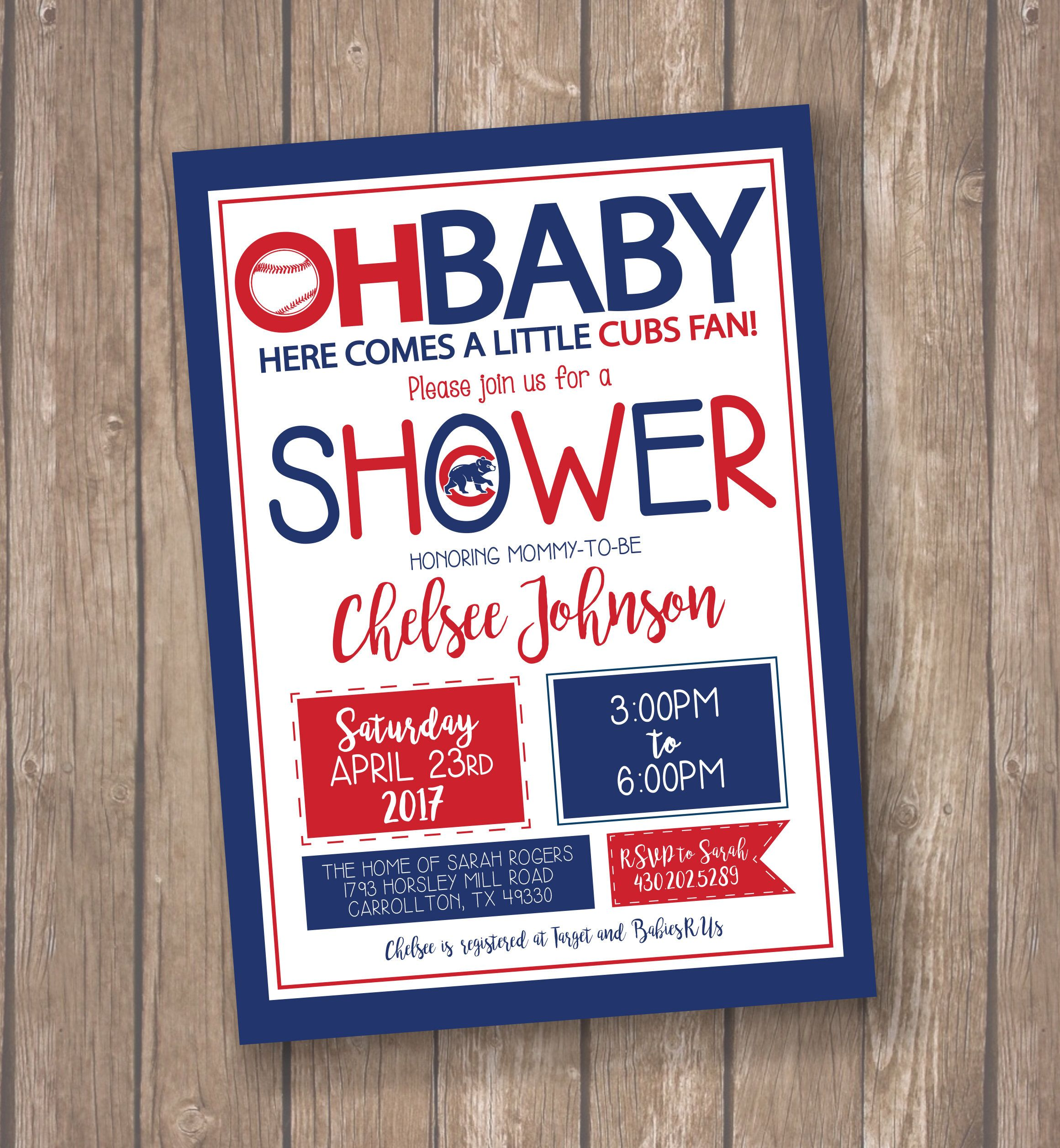 Chicago Cubs Baseball Baby Shower Invitation - Cubs Birthday Party ...