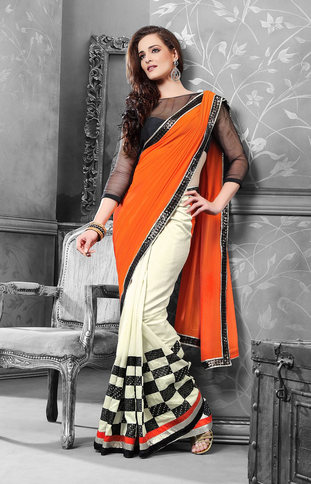 Off saree model images orange and white combination with black border georgette casual