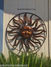 Large Round Metal Sun Wall Decor Rustic Garden Art Indoor Outdoor ...