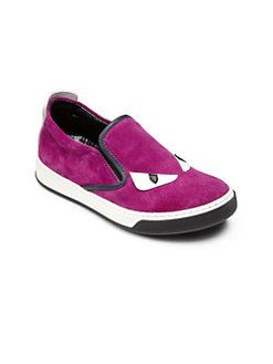 Fendi - Kid's Monster Suede Slip-On Sneakers