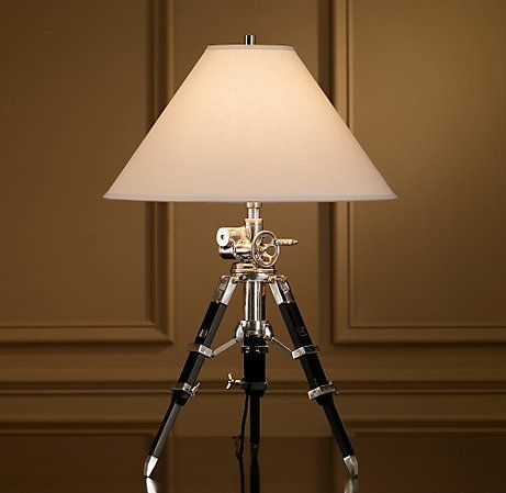 The Royal Marine Tripod Table Lamp Is One Clever Design Made Up Of Restoration  Hardware Complete With Machine Turned Gear Mechanism And A Telescopic  Tripod ...