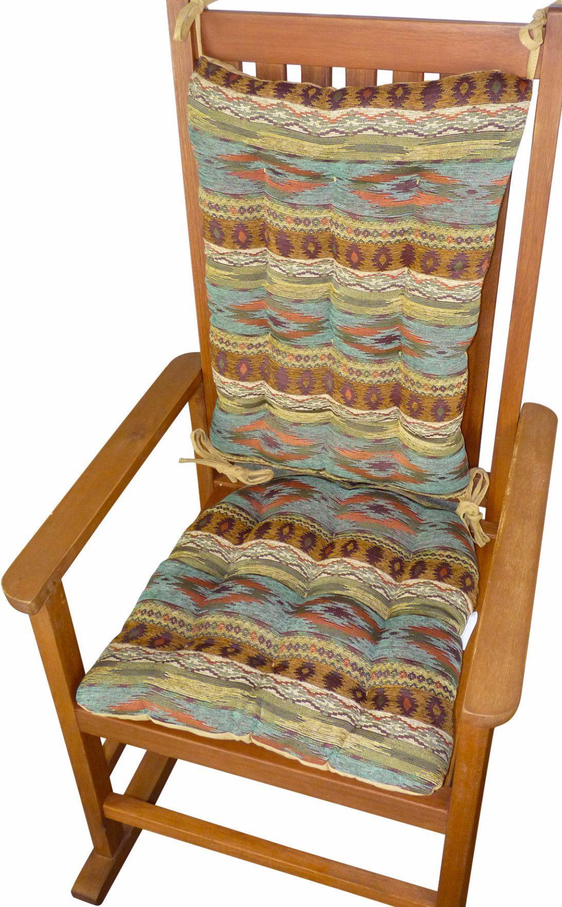 Southwest Tucson Desert Rocking Chair Cushion Set Latex Foam